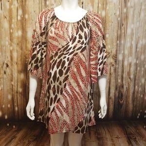 Tops - Animal print tunic/ dress w/ bell sleeves